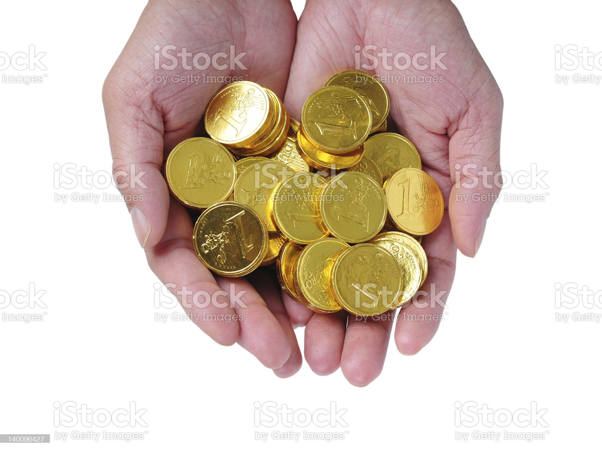 Gold in Hands royalty-free stock photo