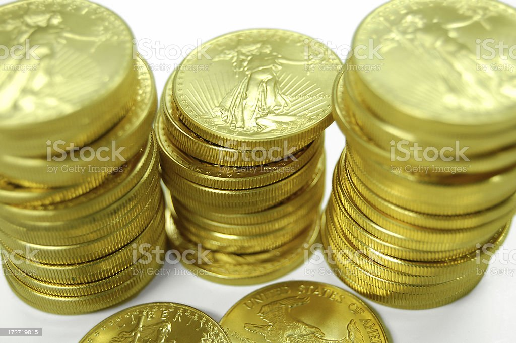 Gold in Many Stacks stock photo