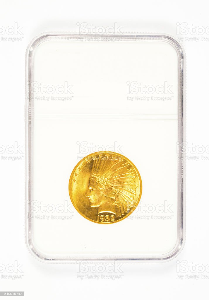 Gold Indian Head Dollar in Case stock photo