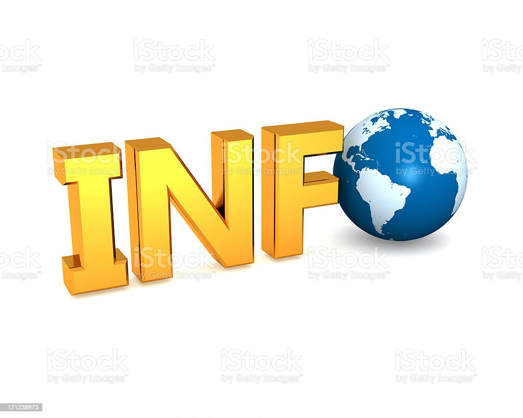 Gold INFO text with globe royalty-free stock photo