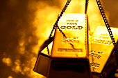 Gold ingot on weight scale