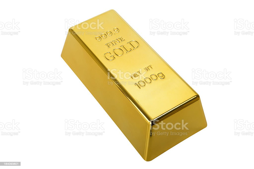 Gold Ingot with clipping path royalty-free stock photo