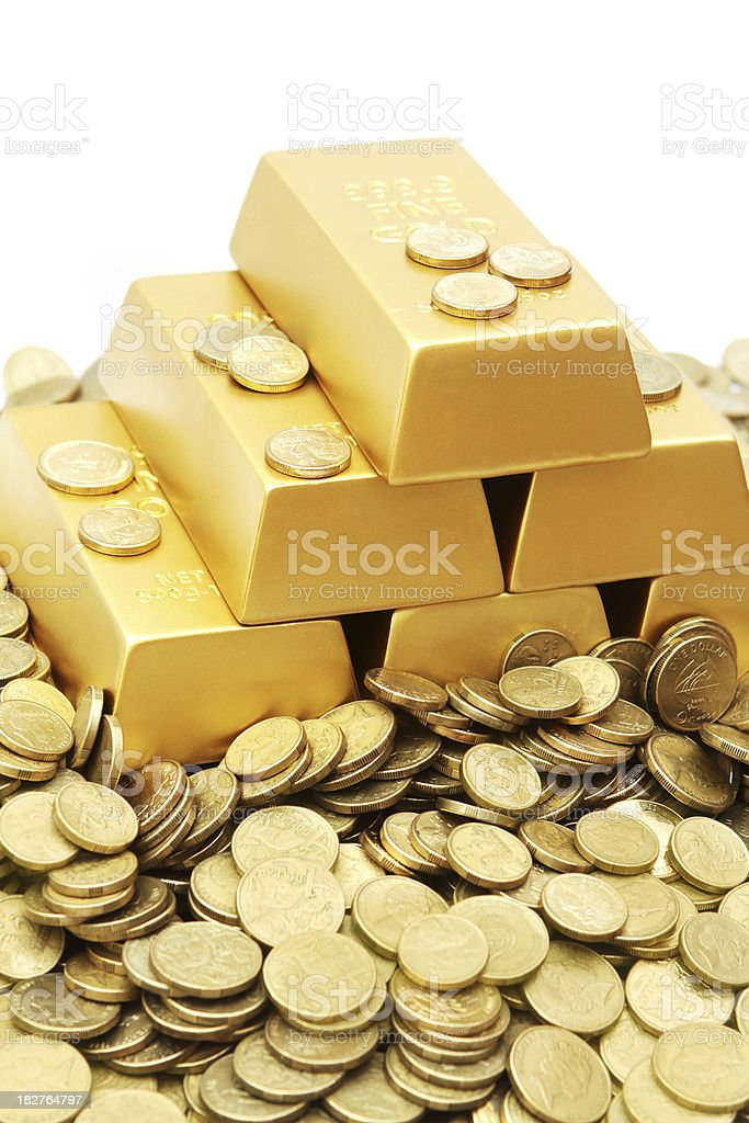 Gold Ingots and Coins royalty-free stock photo