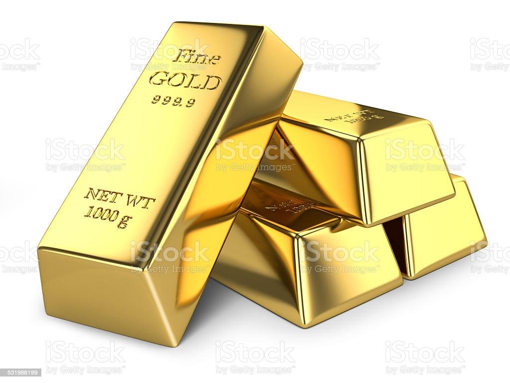 Gold ingots isolated stock photo
