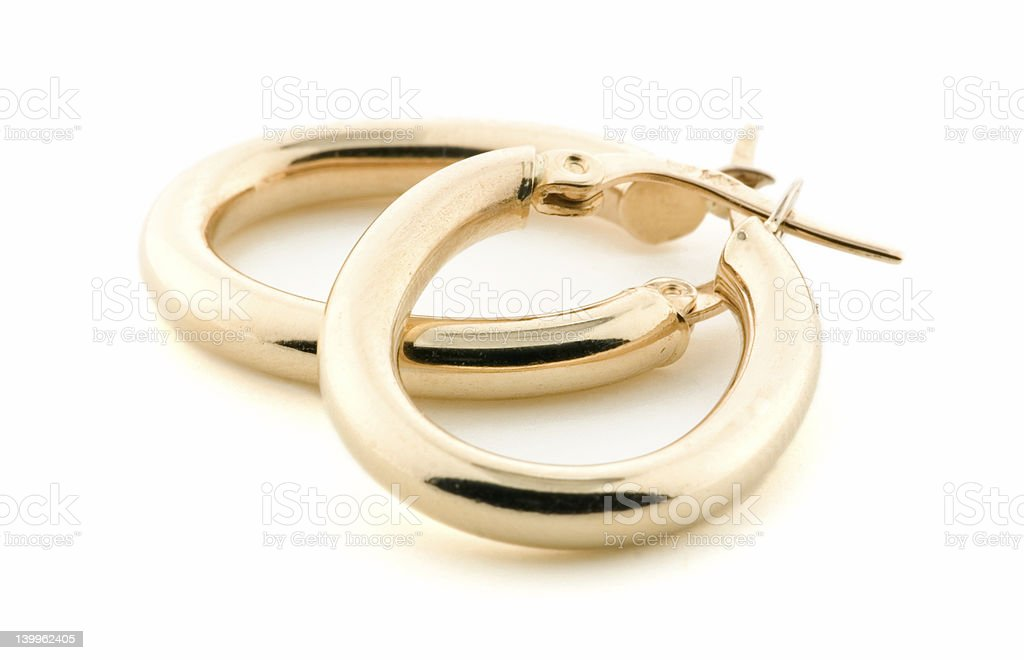 Gold Jewellery - Earrings royalty-free stock photo