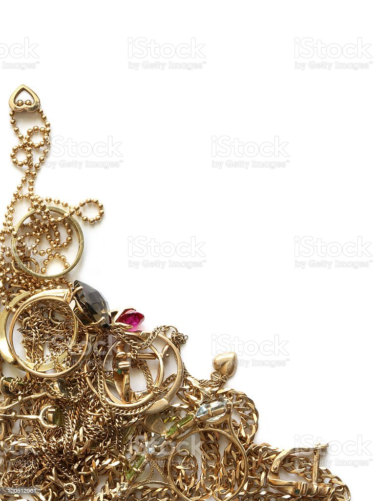 Gold Jewelry On White royalty-free stock photo