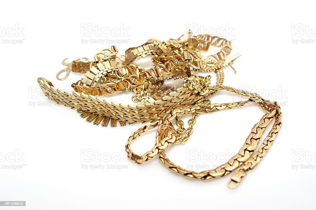 Gold jewelry. stock photo
