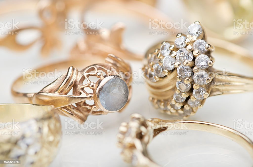 Gold jewelry stock photo