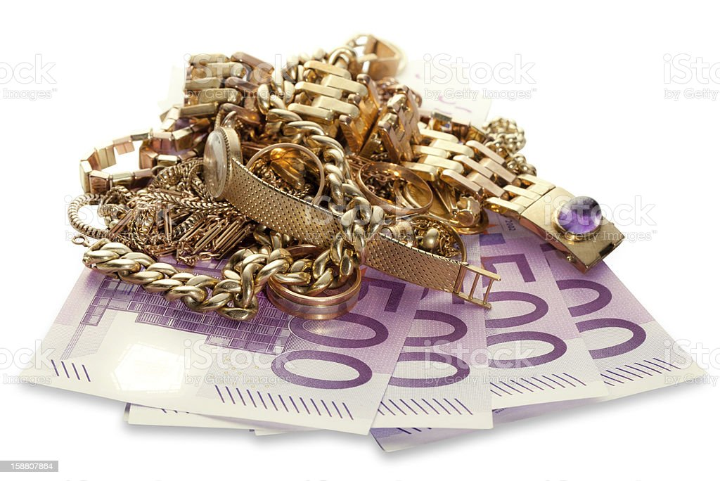 Gold Jewelry with 500 Euro Notes stock photo
