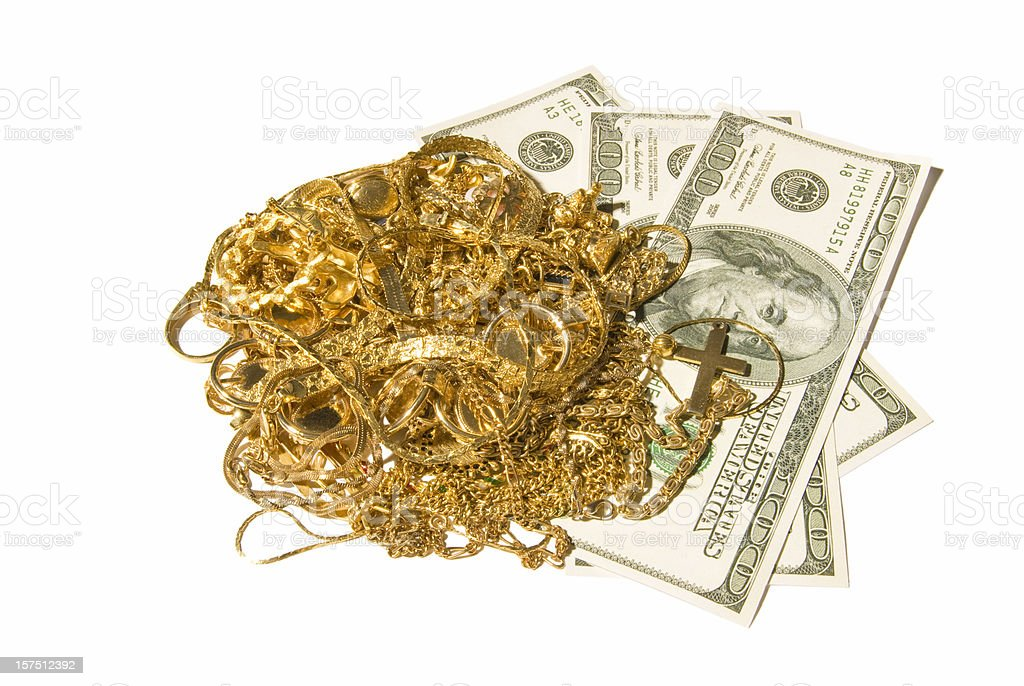 Gold Jewelry With Cash royalty-free stock photo
