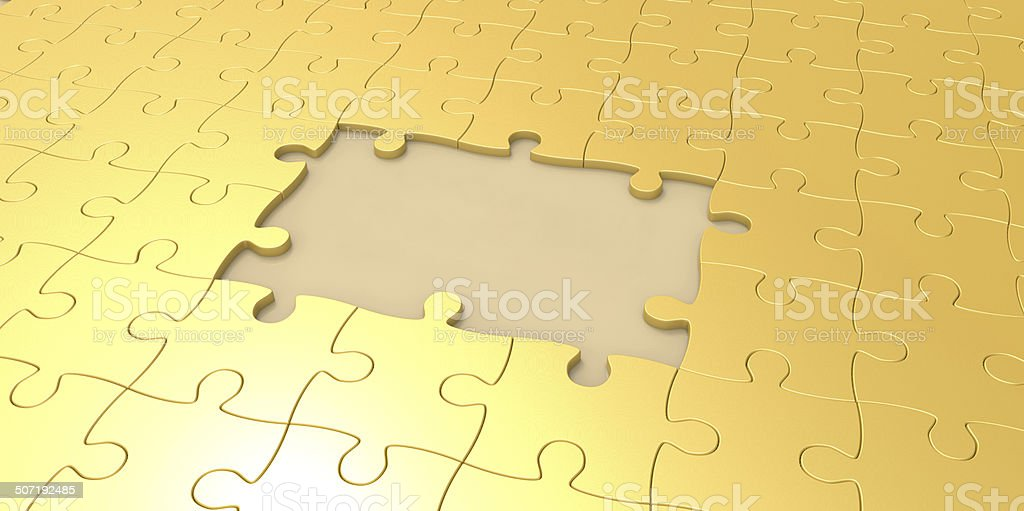 3D gold jigsaw puzzle pieces royalty-free stock photo