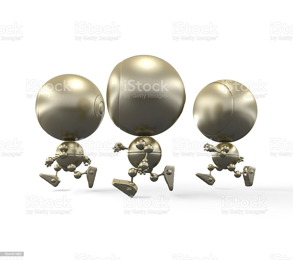 Gold jogging robots royalty-free stock photo