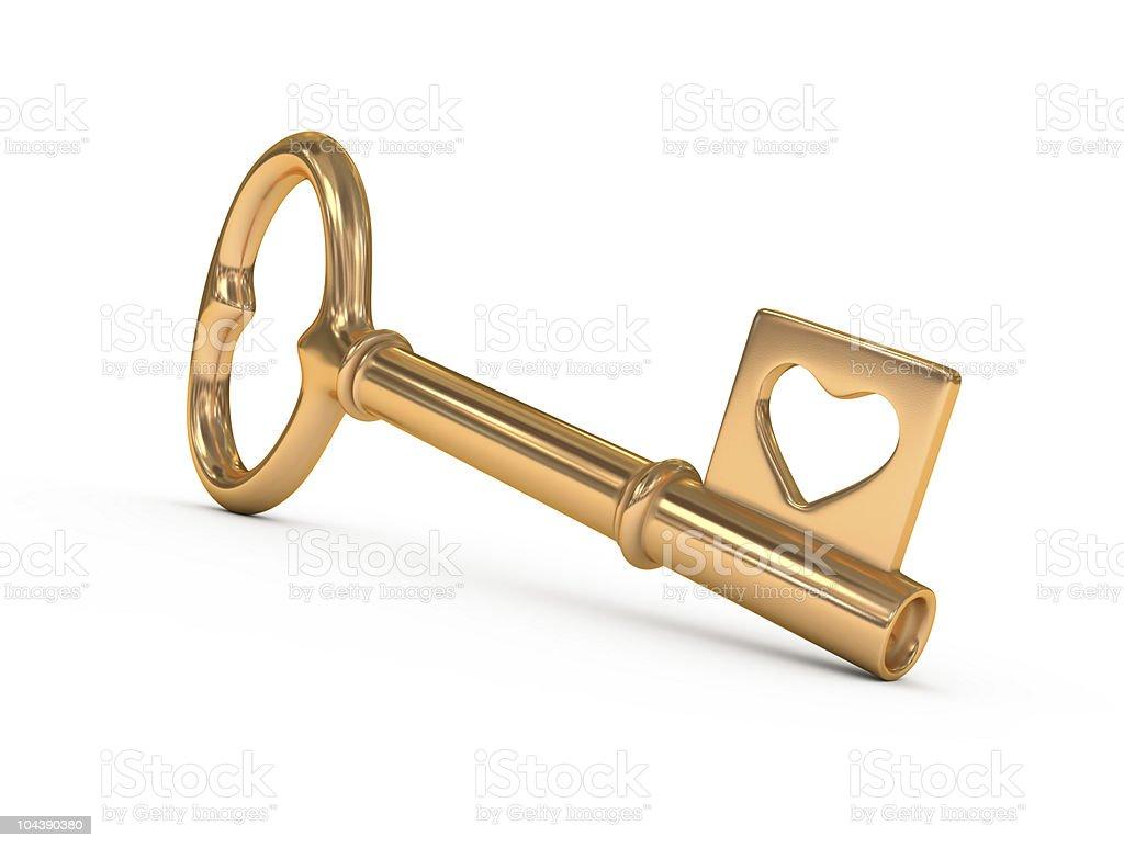 Gold key. royalty-free stock photo