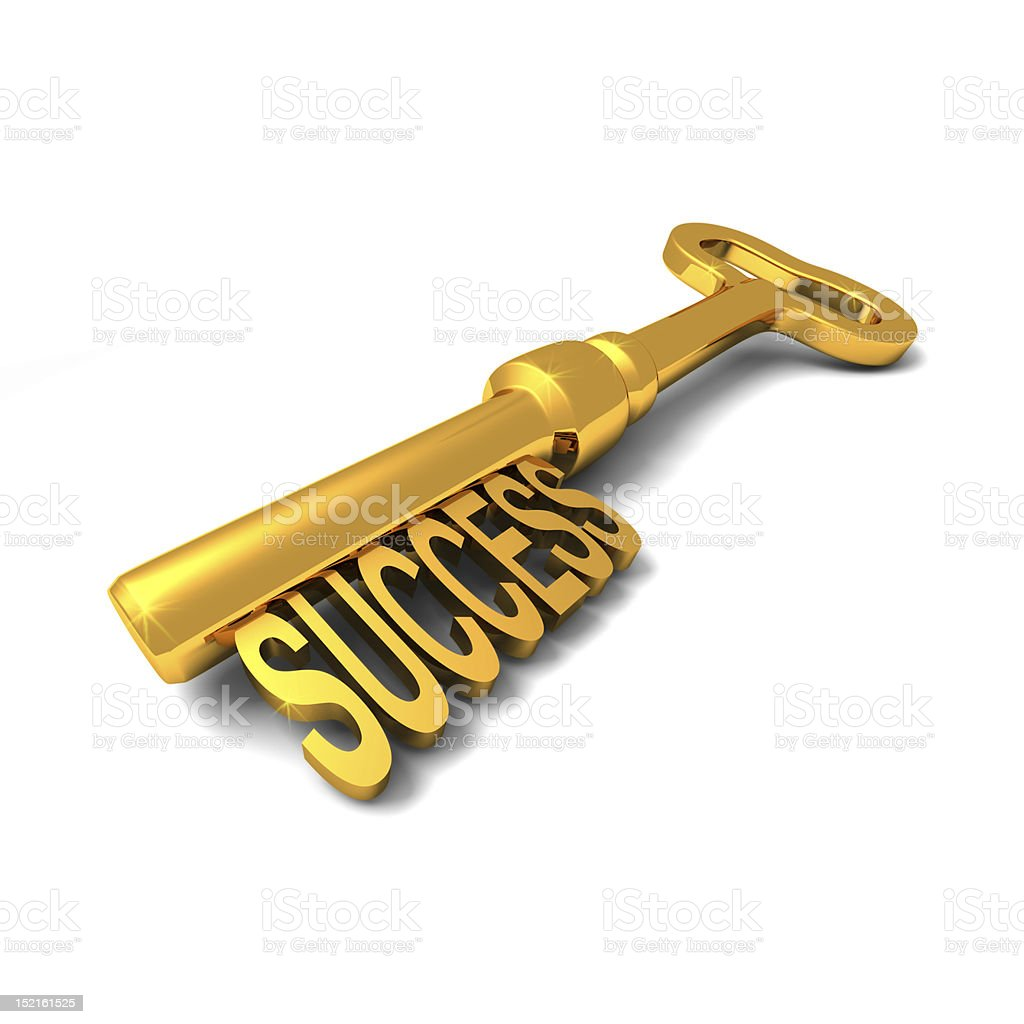 A gold key to success on a white background stock photo