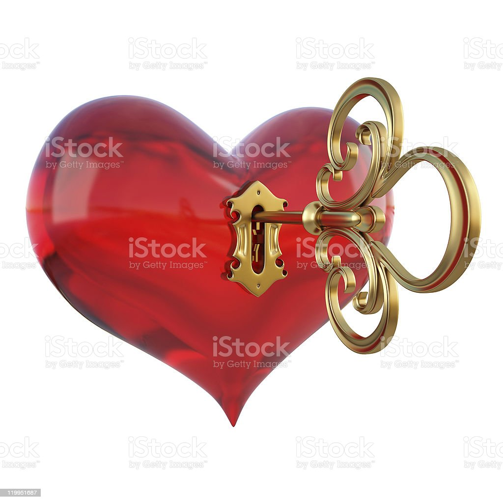 A gold key unlocking a red heart royalty-free stock photo
