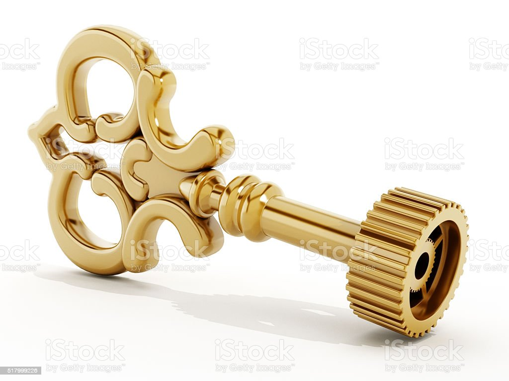 Gold key with gear stock photo