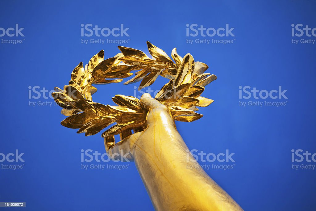 Gold Laurel at Victory Column in Berlin, Germany stock photo