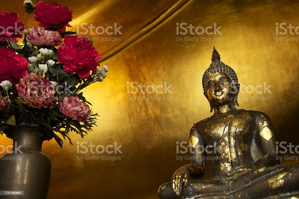 Gold Leaf Buddha Statue Golden Background royalty-free stock photo