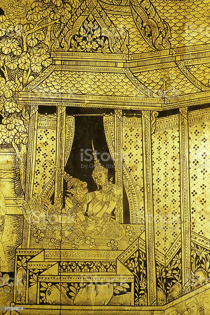 gold leaf gilded lacquer royalty-free stock photo