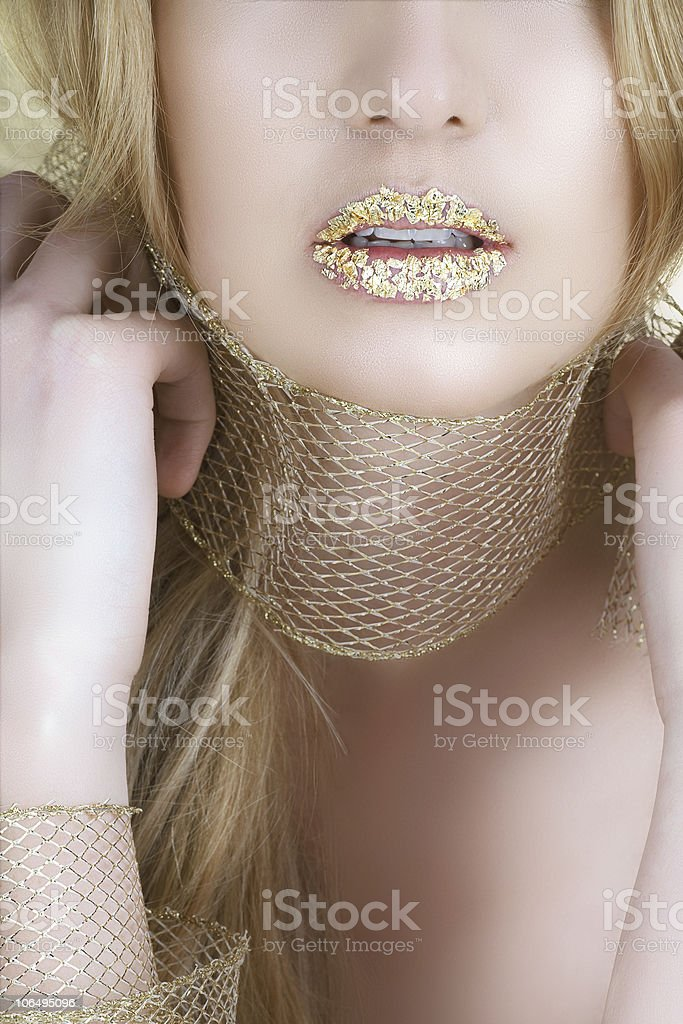 gold leaf lips royalty-free stock photo