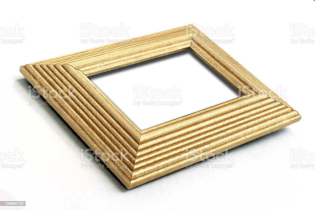 Gold leaf picture frame angled royalty-free stock photo