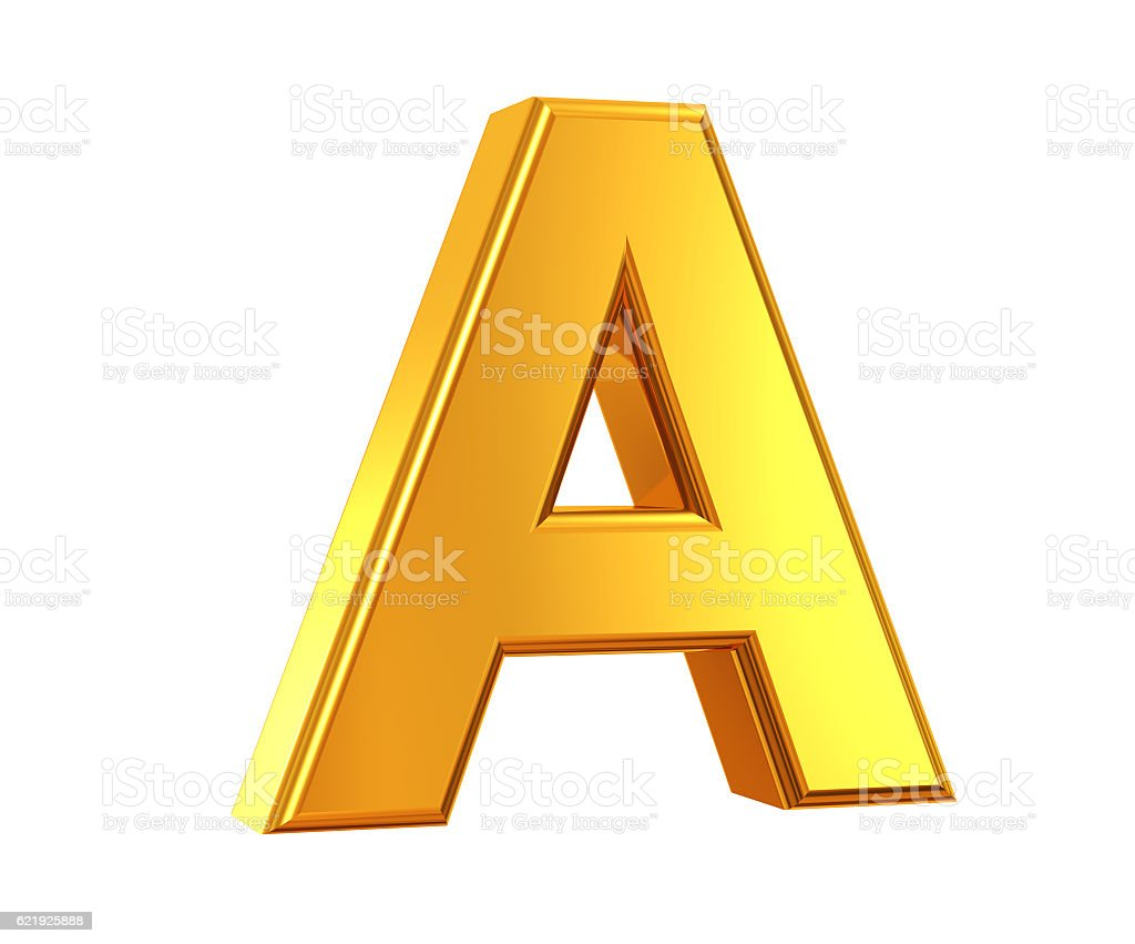 Gold Letter A stock photo