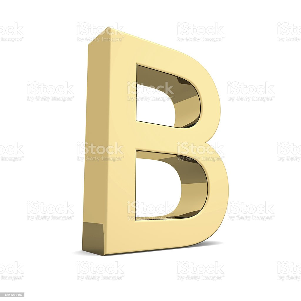 Gold letter B royalty-free stock photo