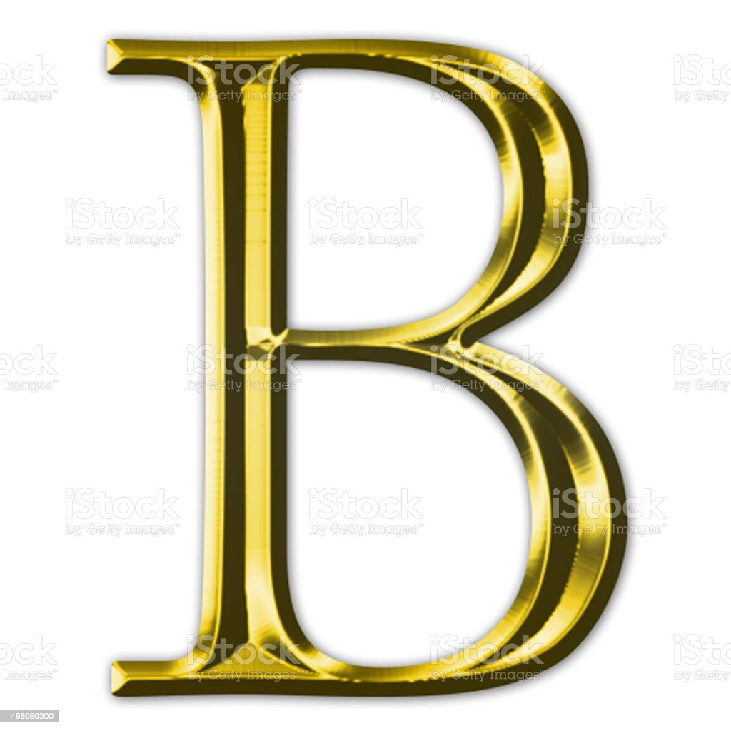 Gold letter B stock photo