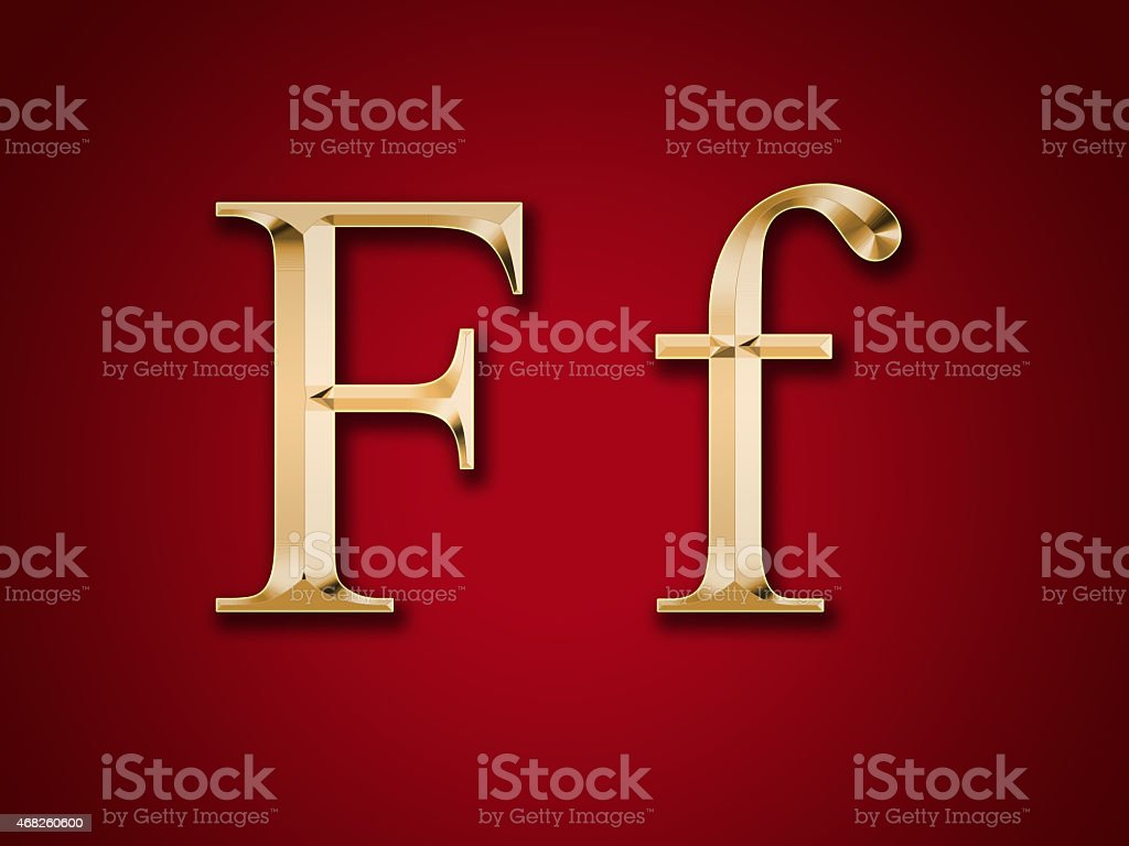 Gold letter 'F' on a red background stock photo