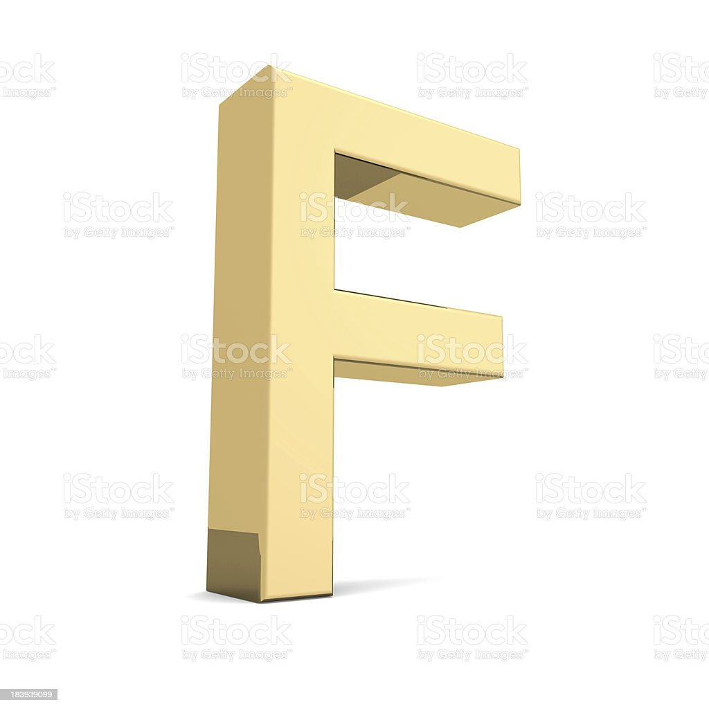 Gold letter F royalty-free stock photo