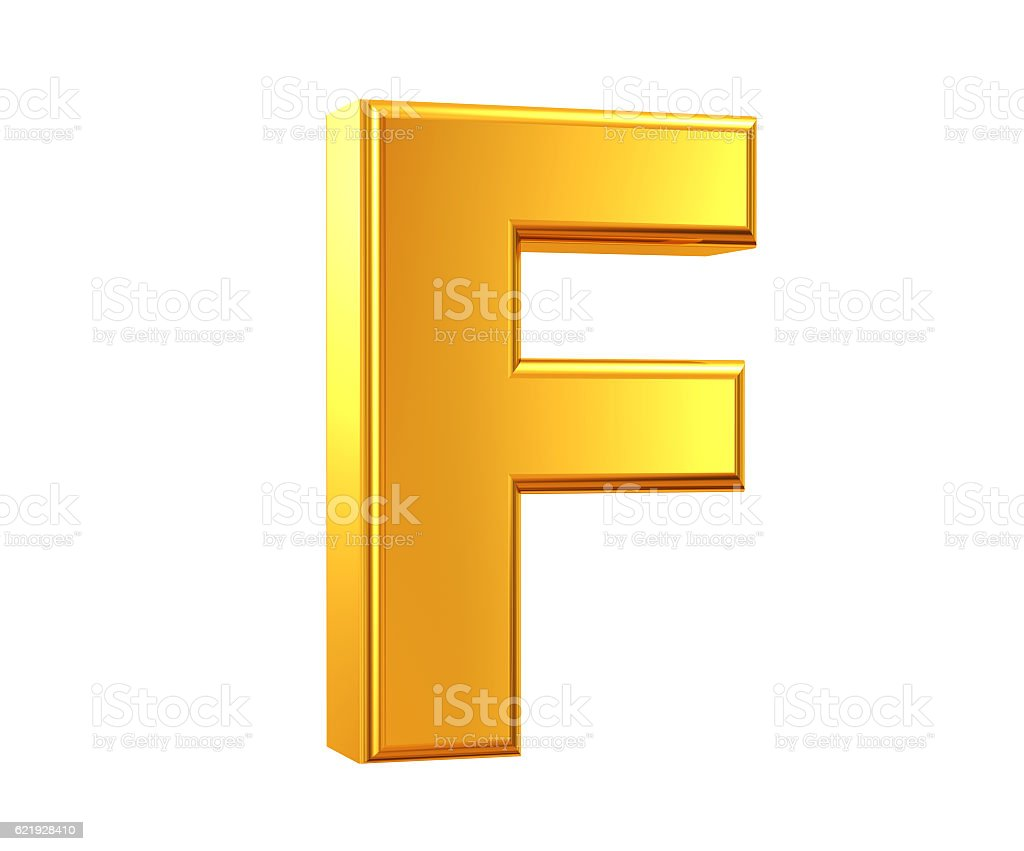 Gold Letter F stock photo