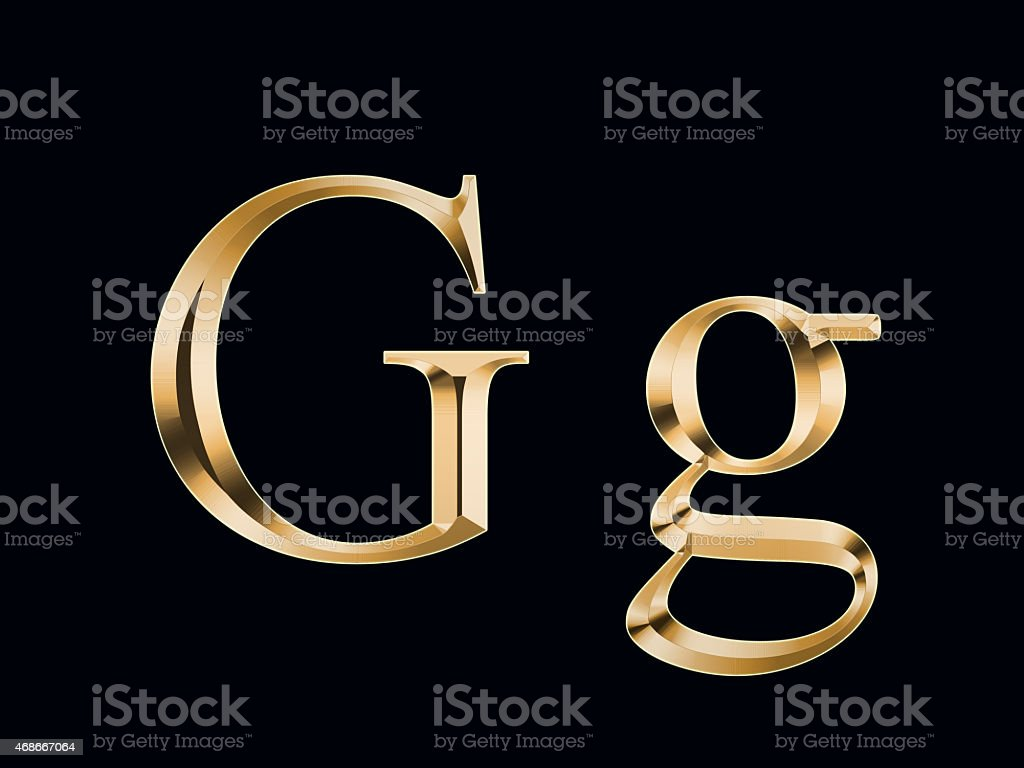 Gold letter 'G' on a black background stock photo