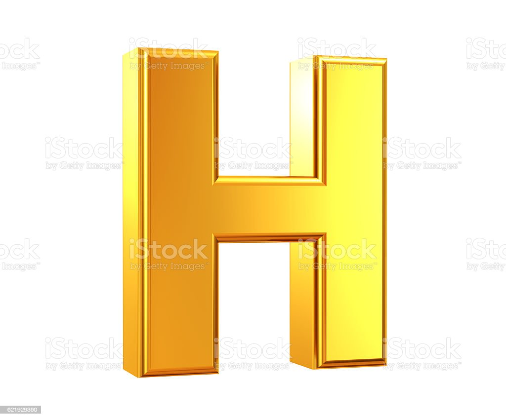 Gold Letter H stock photo