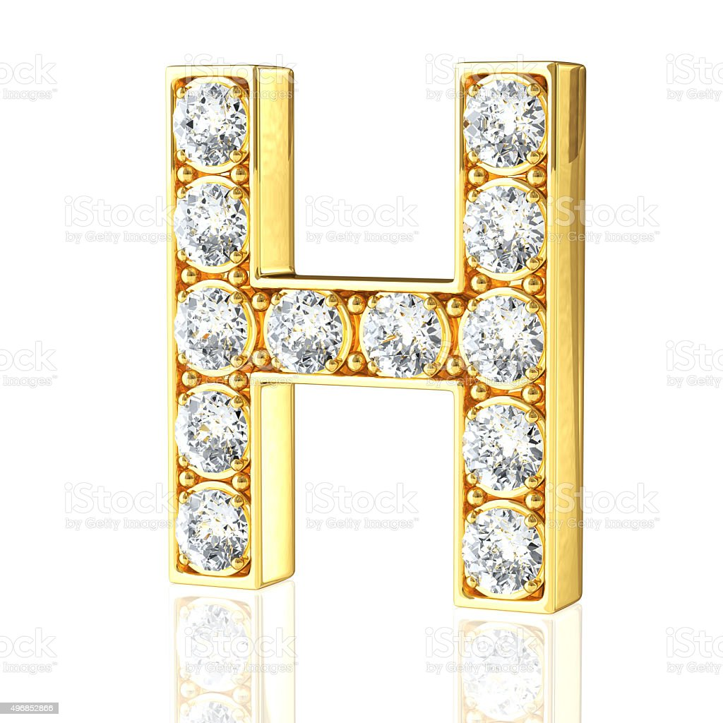 Gold Letter H With Diamonds stock photo