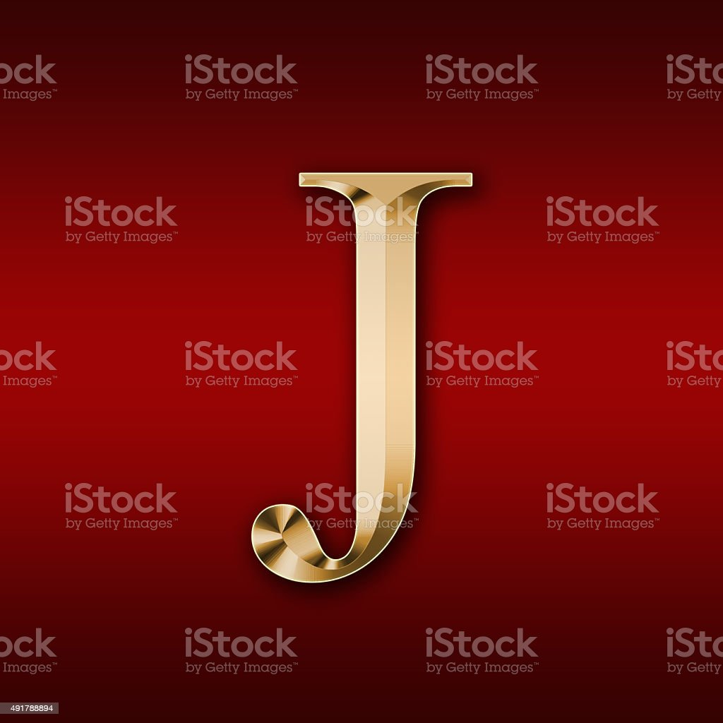 Gold letter 'J' on a red background stock photo