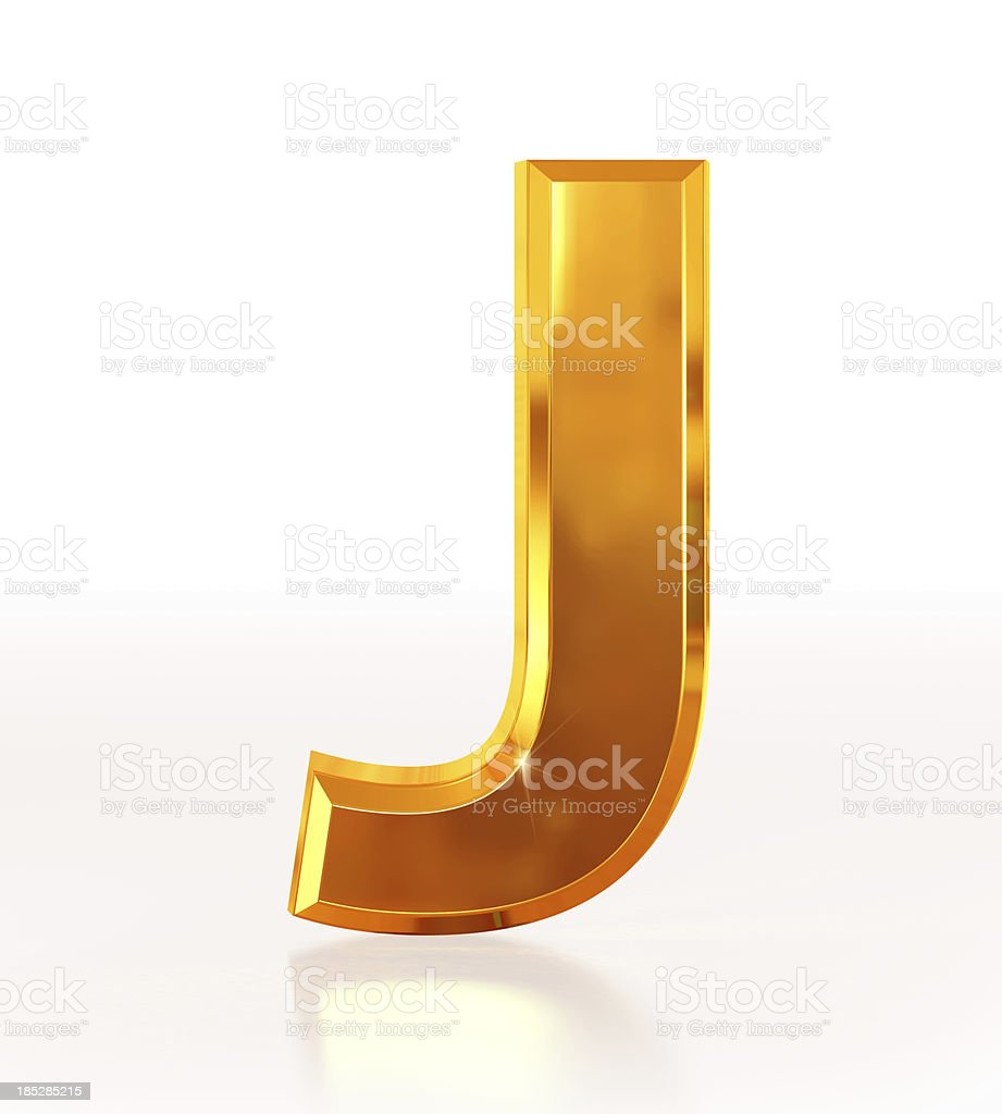 Gold Letter J royalty-free stock photo