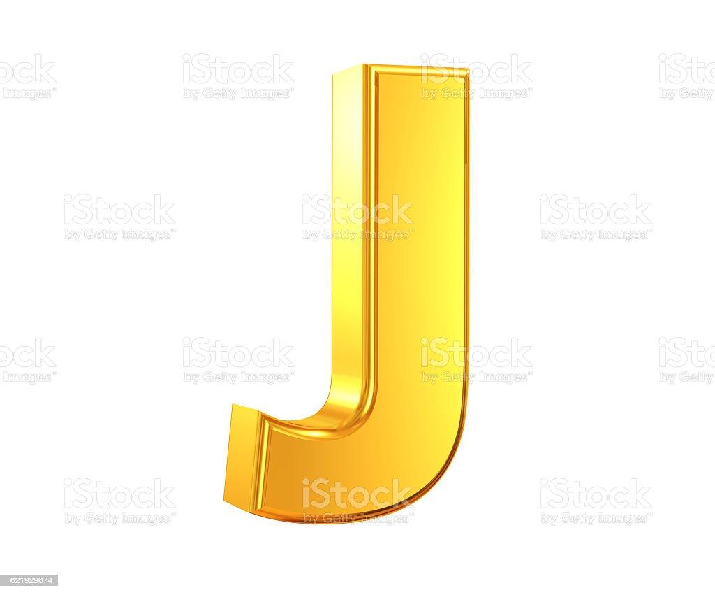 Gold Letter J stock photo