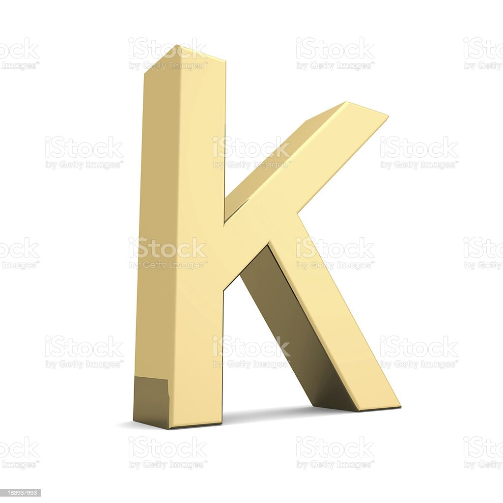 Gold letter K royalty-free stock photo