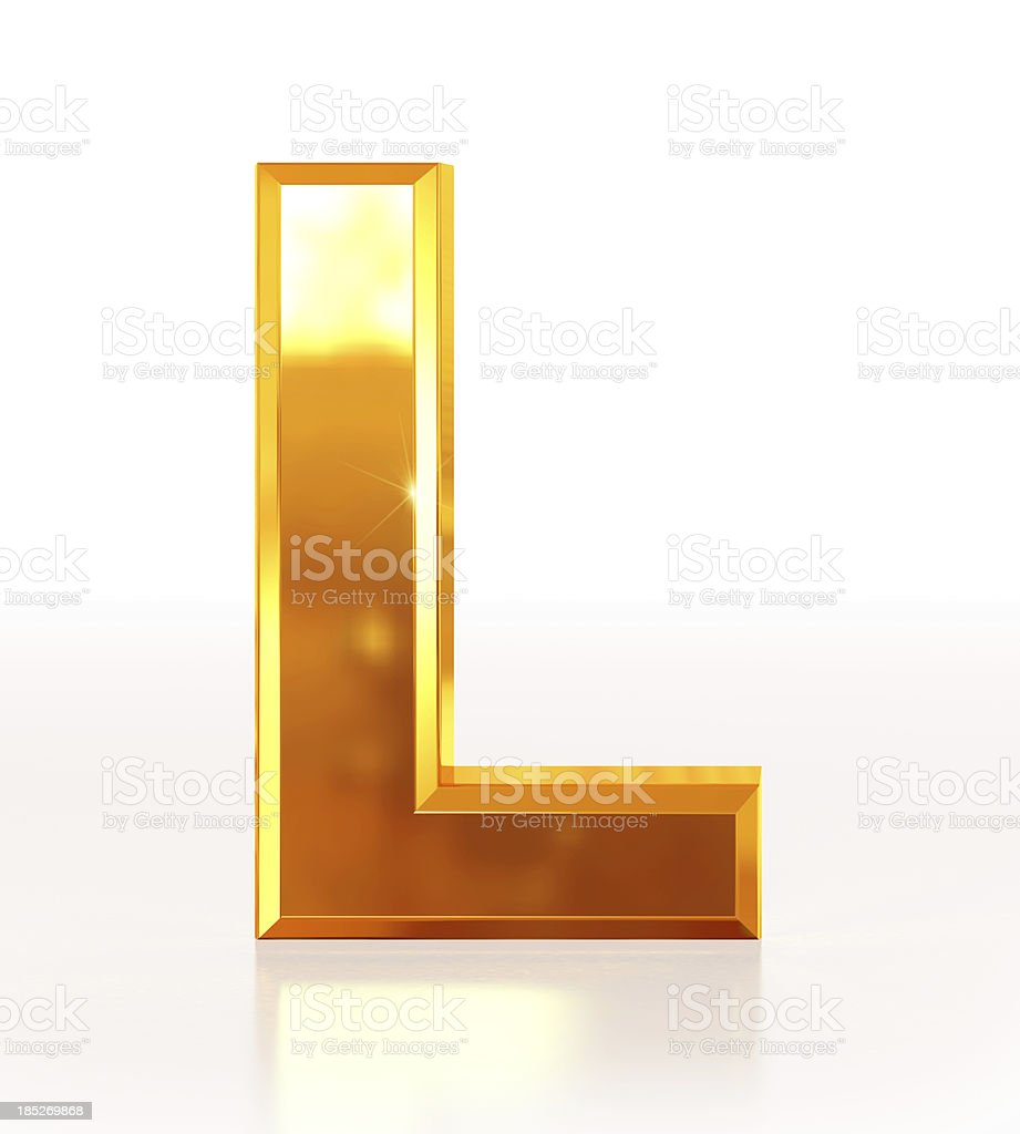 Gold Letter L royalty-free stock photo