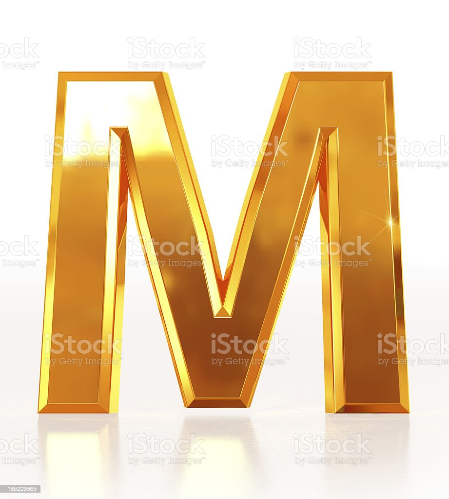 Gold Letter M royalty-free stock photo
