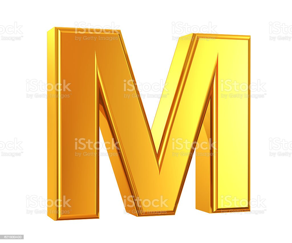 Gold Letter M stock photo