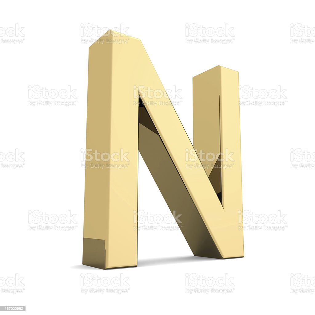 Gold letter N royalty-free stock photo