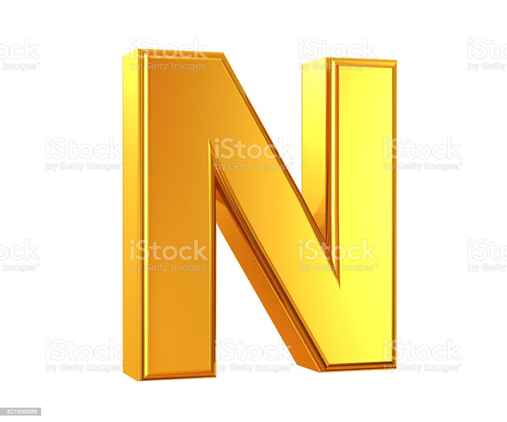Gold Letter N stock photo