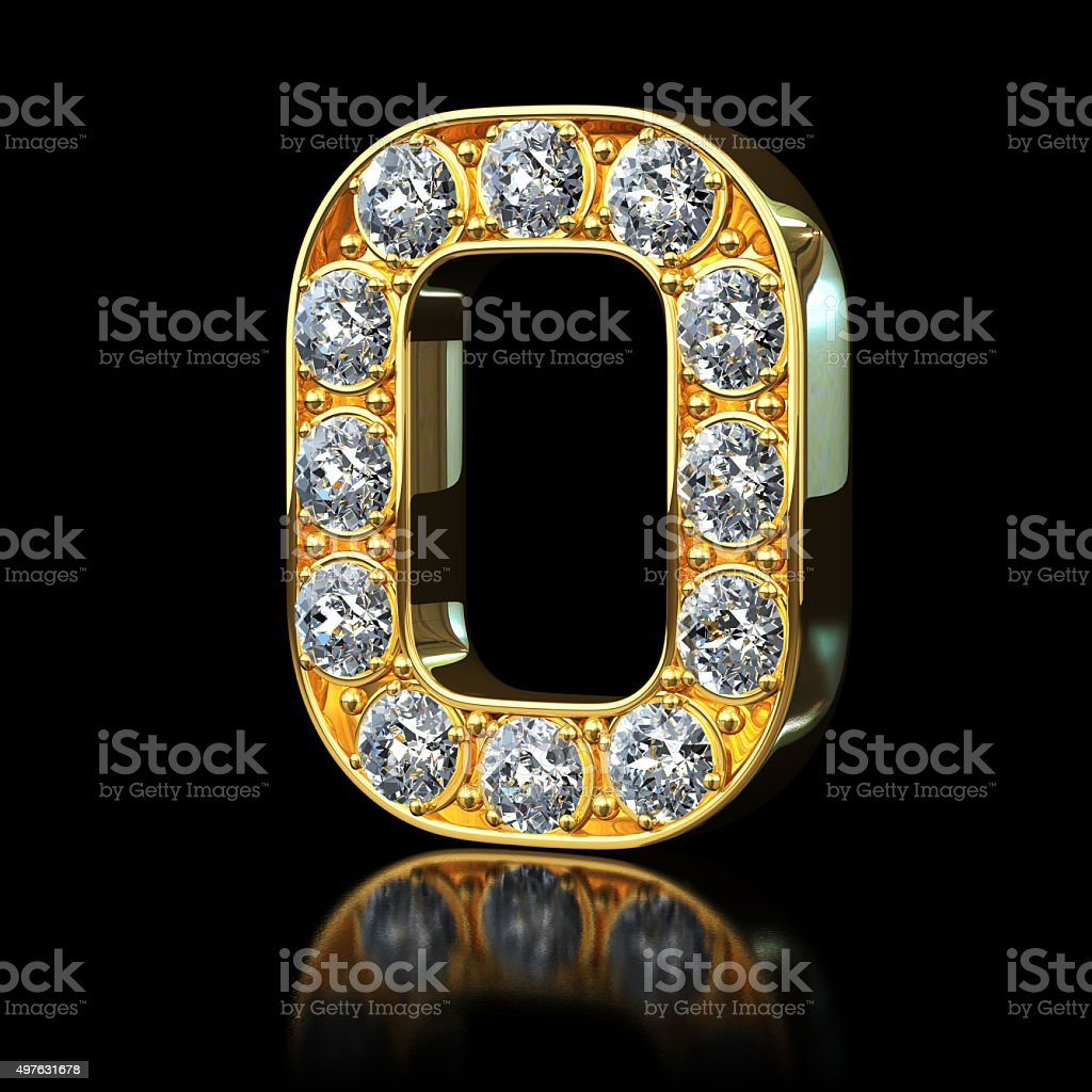Gold Letter O With Diamonds stock photo