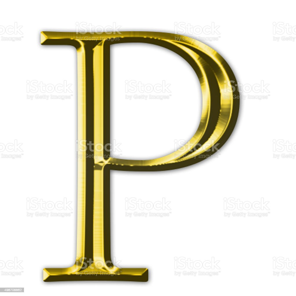 Gold letter P stock photo