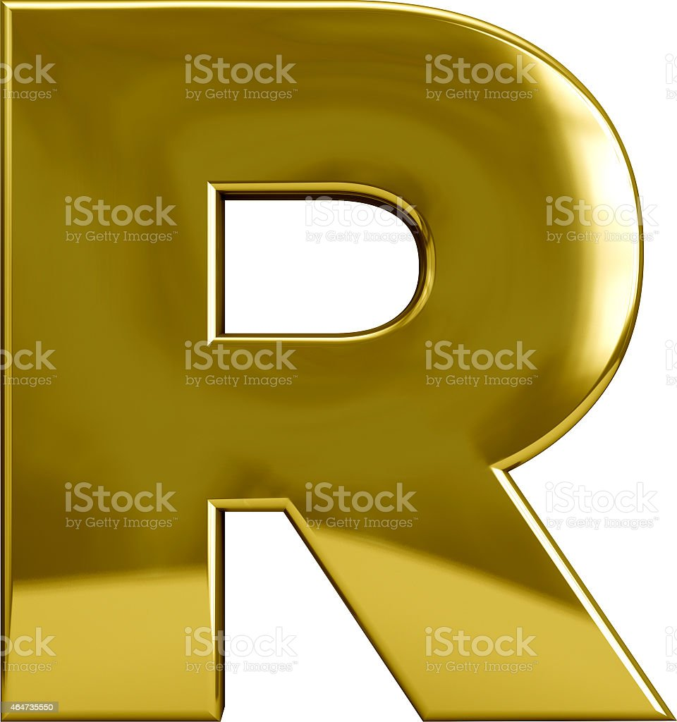 Gold Letter R stock photo