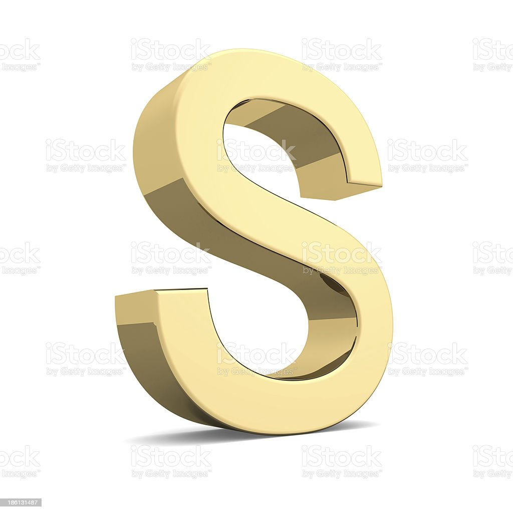 Gold letter S royalty-free stock photo