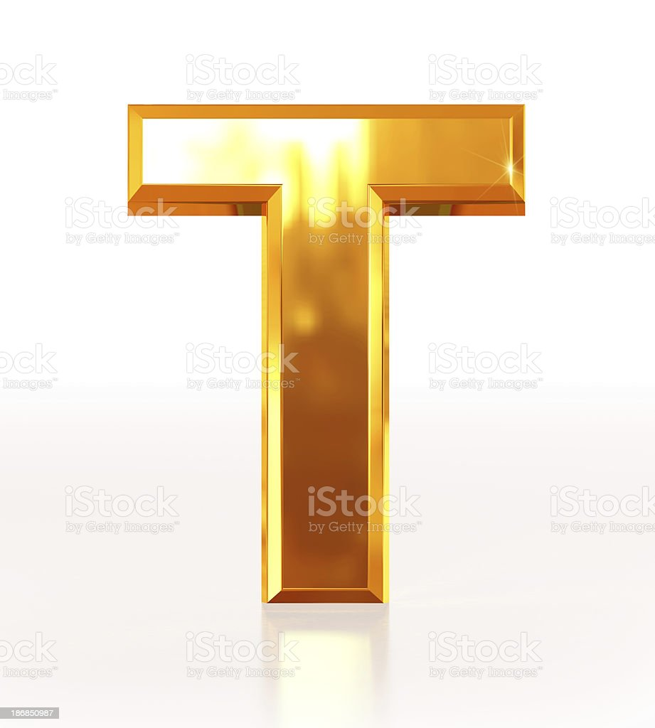 Gold Letter T royalty-free stock photo