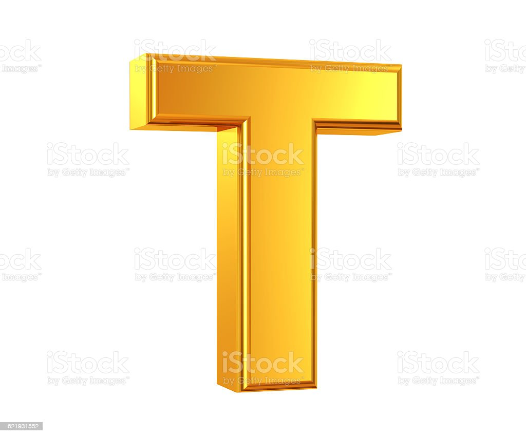 Gold Letter T stock photo