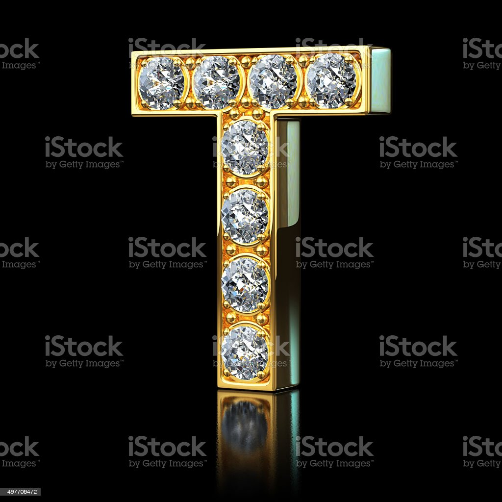 Gold Letter T With Diamonds stock photo